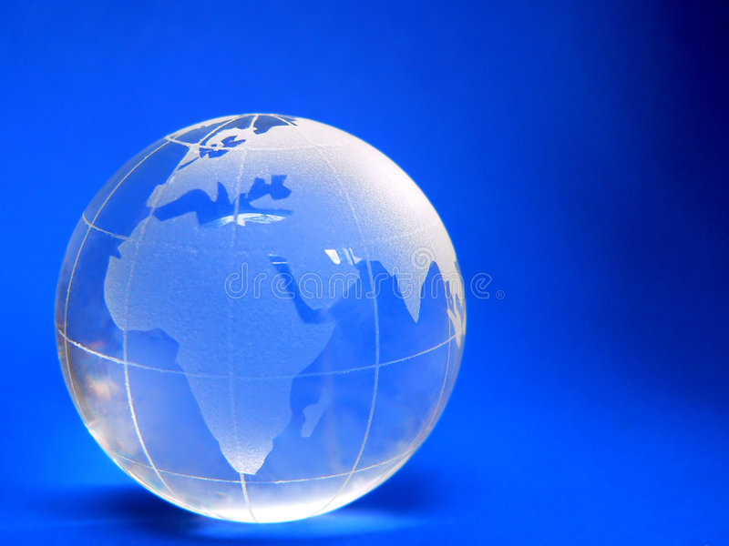 Globe. Clear Globe on Blue
