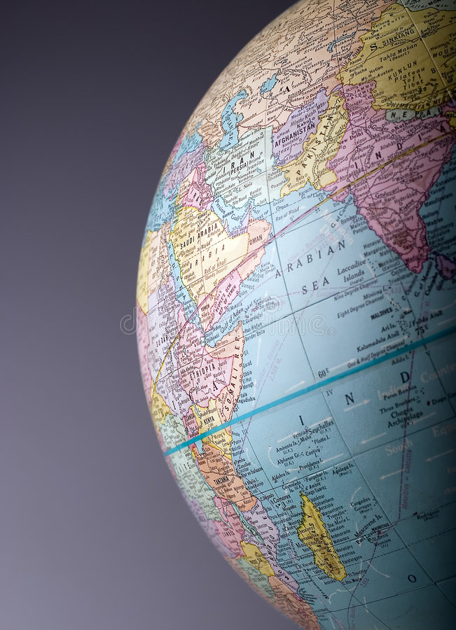 Globe 2. A section of a globe in vertical format royalty free stock image