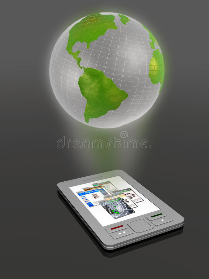Globe. Communicator with globe on dark background royalty free illustration