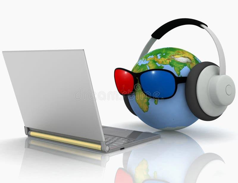 Globe with 3D glasses stock illustration