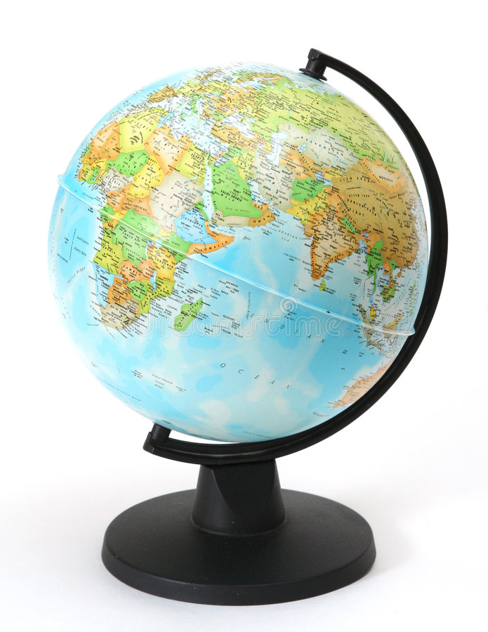 Globe. Isolated; map; earth; white; business; sphere; cartography; world; blue; planet; globe; americas; national; north; africa; asia; object; physical stock photo