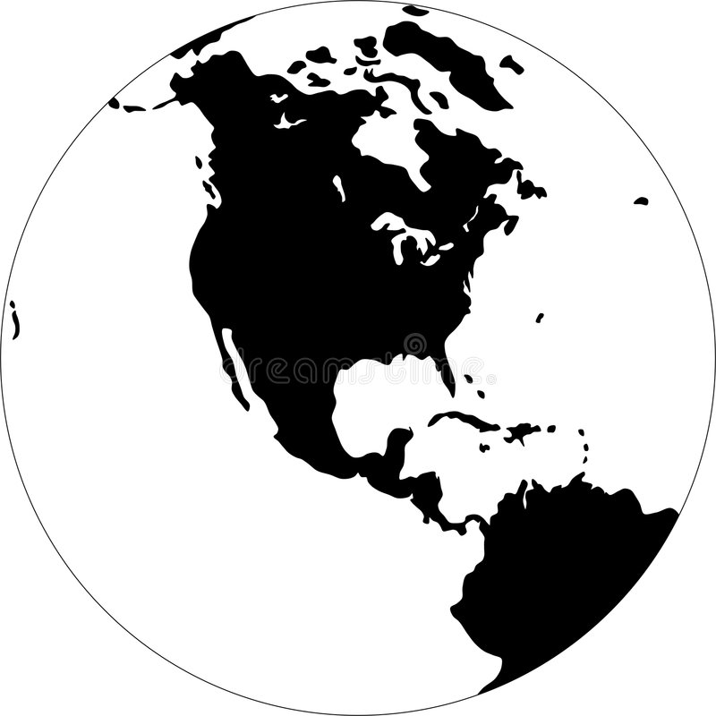 Globe. Turned the North America. Black and white vector illustration
