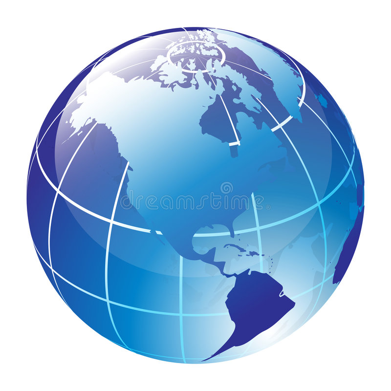 World globe. Blue vector glossy globe - computer generated