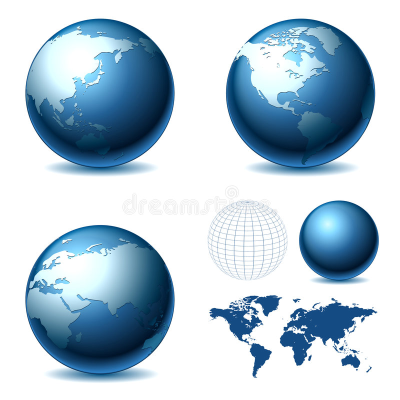 Globe. Vector Globe and Map of the World