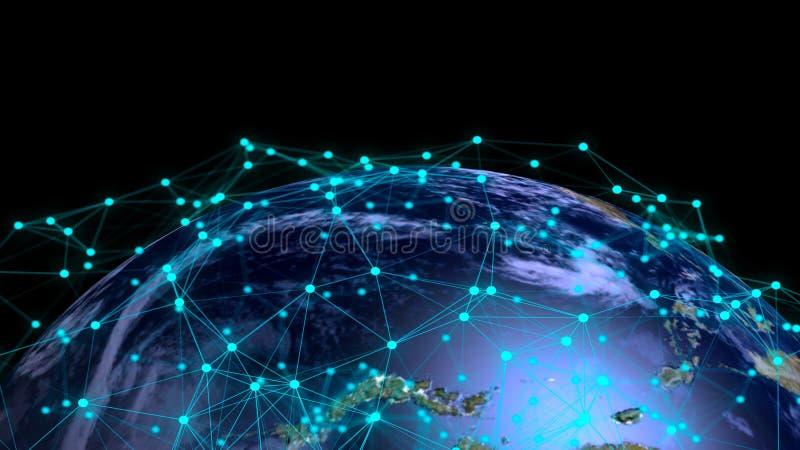 Globe abstrait avec les connexions numériques Éléments de cette image meublés par la NASA illustration stock