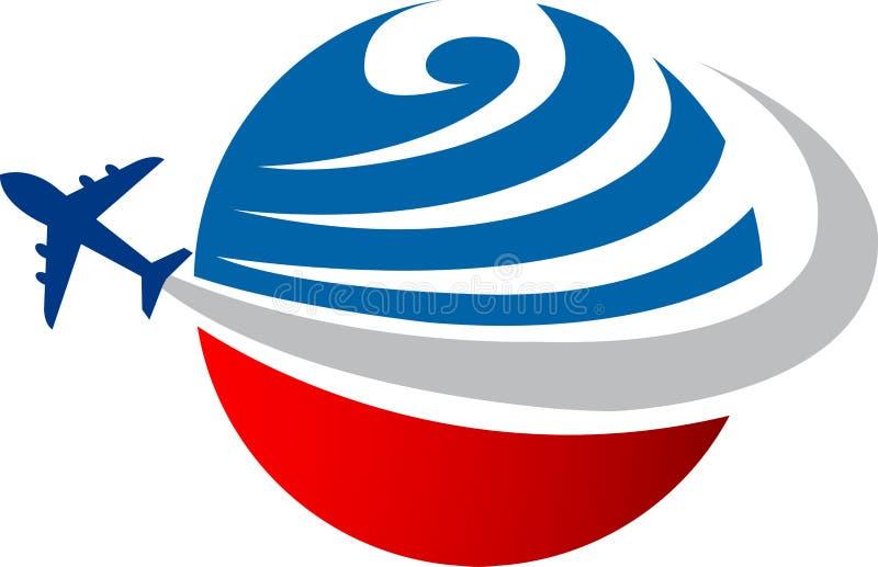 Globe aeroplane. Illustration art of a globe aeroplane logo with isolated background royalty free illustration