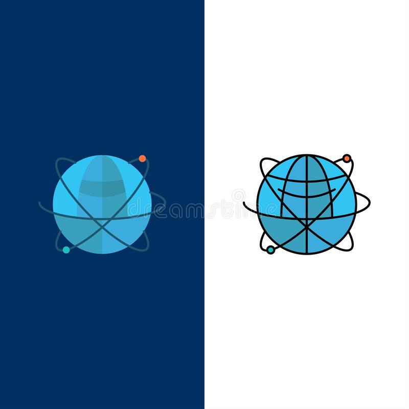 Globe, affaires, données, globales, Internet, ressources, icônes du monde L'appartement et la ligne icône remplie ont placé le fo illustration libre de droits