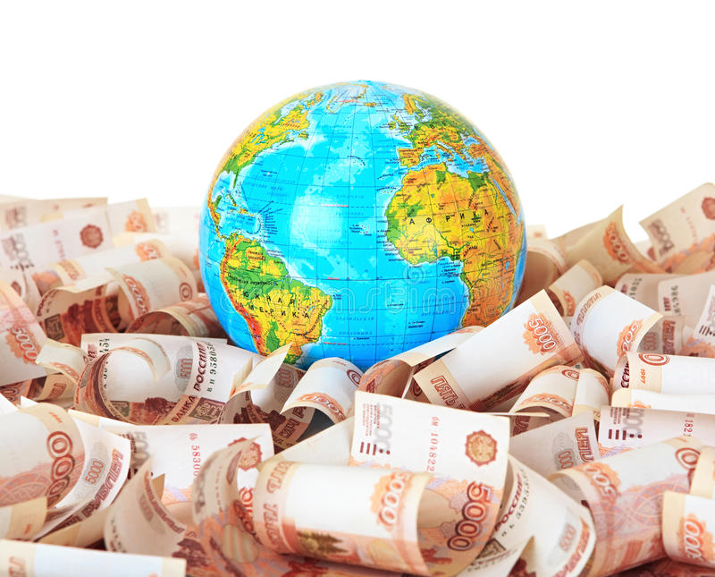 Download Globe Against Russian Banknotes Stock Photos - Image: 20624503