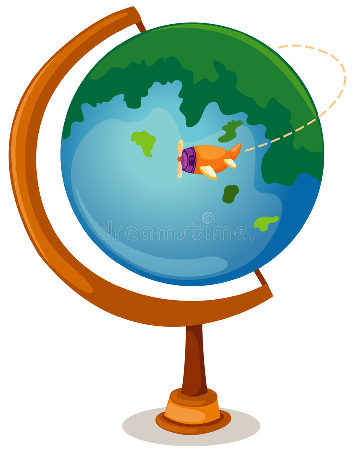 Globe and airplane vector illustration