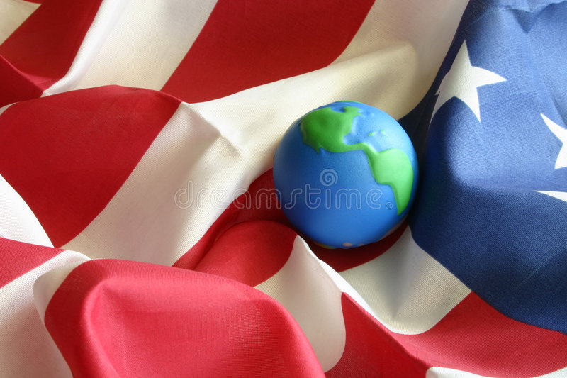 Globe on American Flag royalty free stock photo