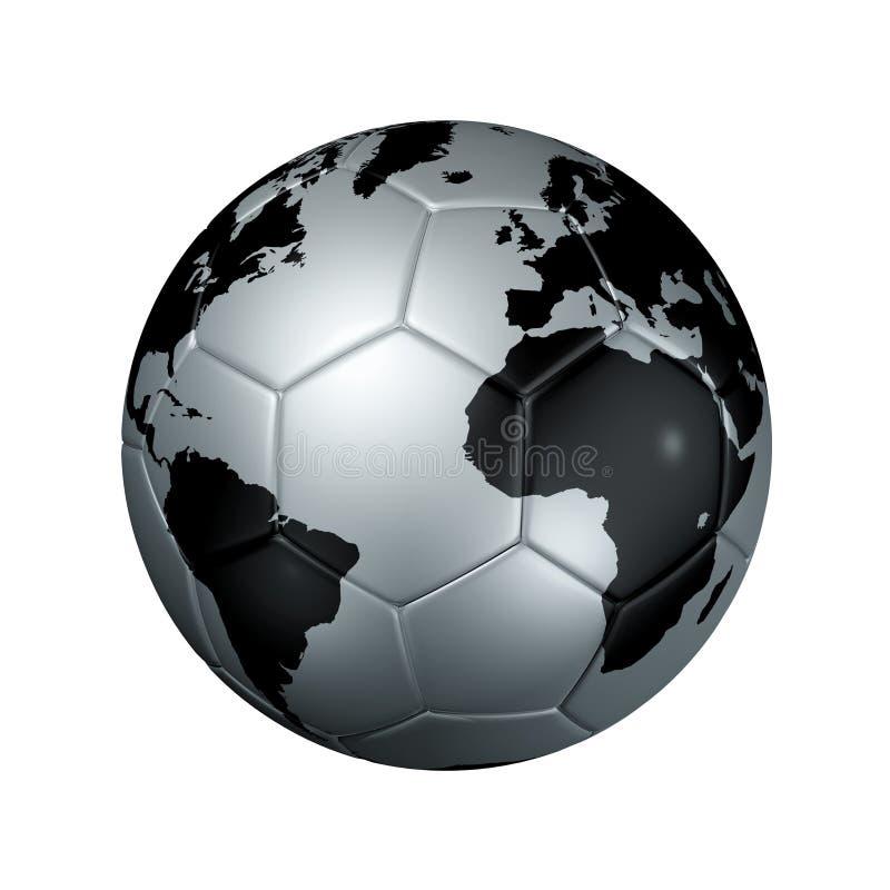Globe argenté du monde de bille du football du football illustration stock