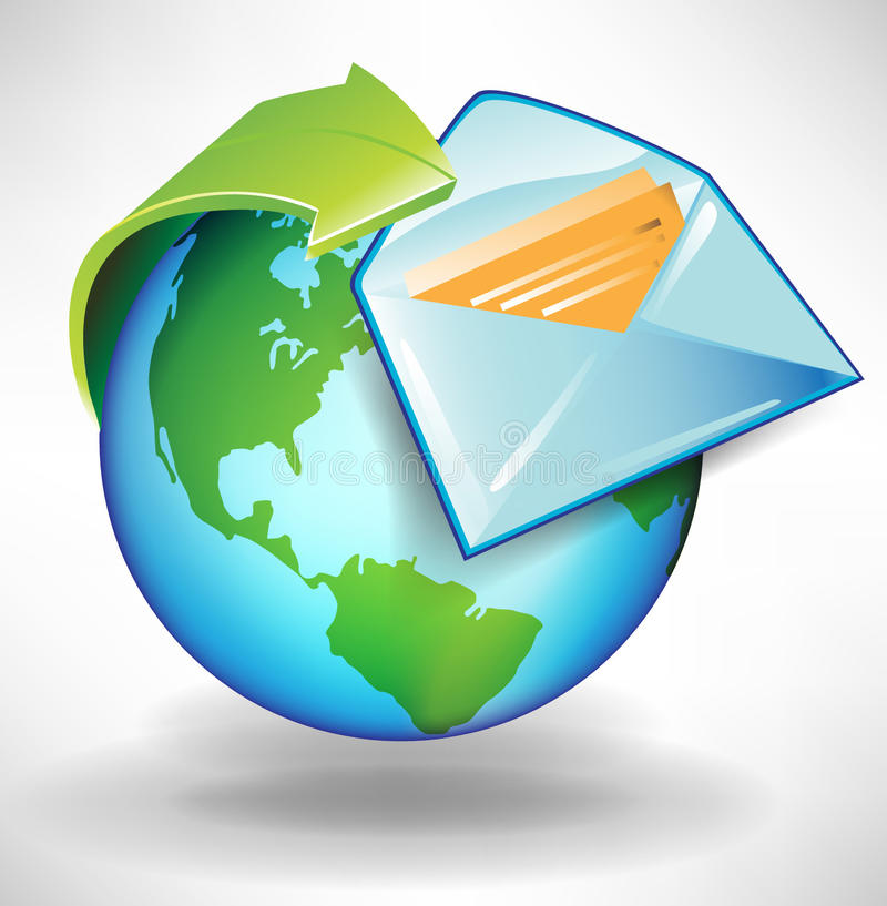 Globe with arrow and envelope royalty free illustration