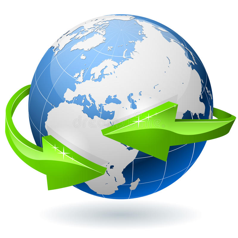 Globe With Arrows Stock Images