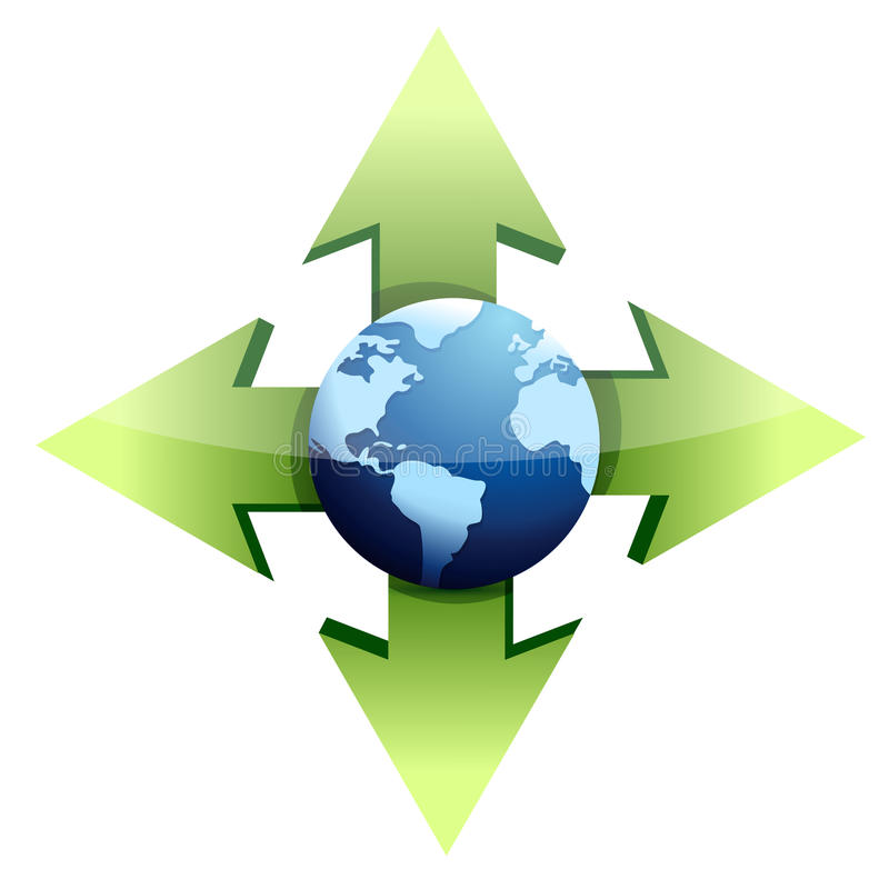 Download Globe with arrows stock illustration. Illustration of green - 29052386