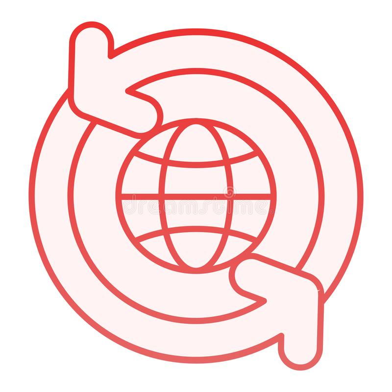 Globe with arrows flat icon. World with circling arrows red icons in trendy flat style. Global gradient style design. Designed for web and app. Eps 10 stock illustration