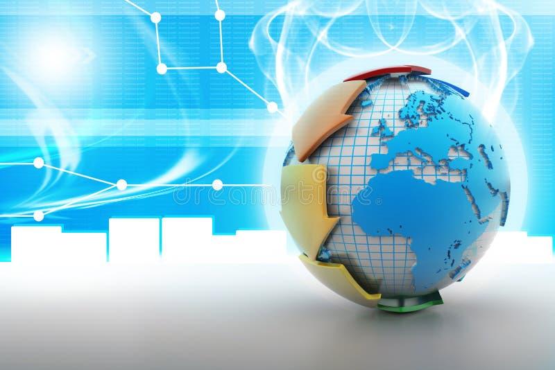 Globe autour avec la flèche illustration stock