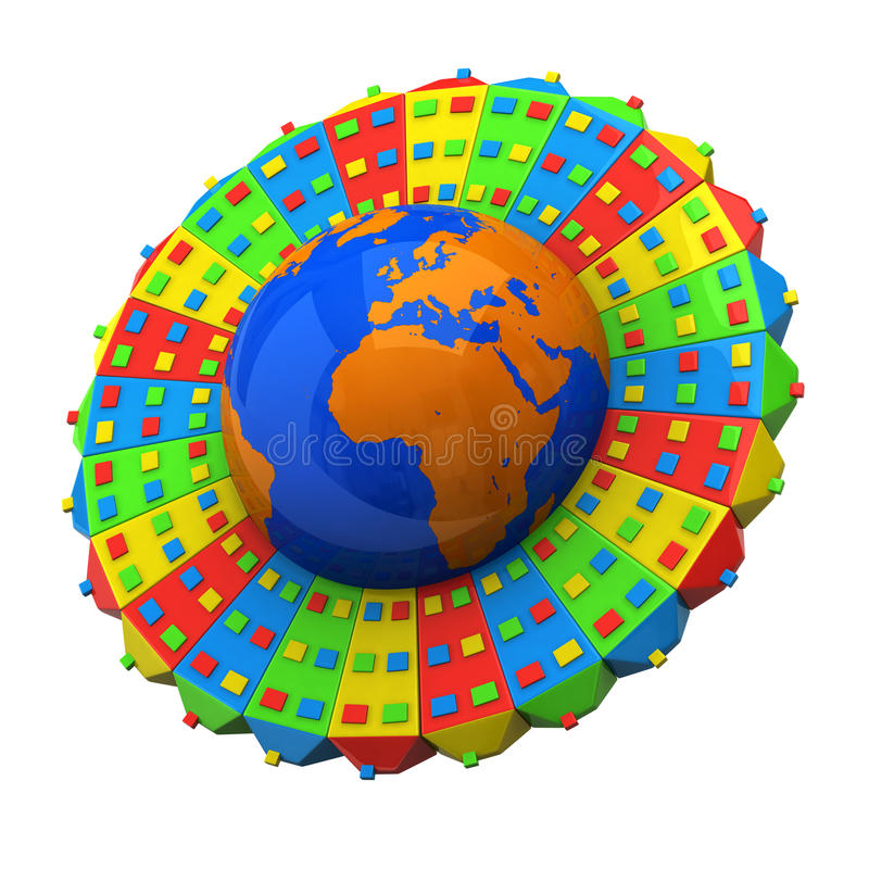 Globe avec des constructions illustration libre de droits