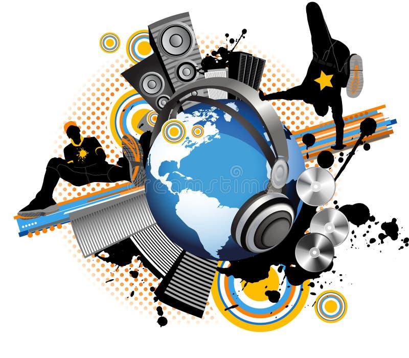 Globe Avec Des Hommes De La Jeunesse De Danse. Ville De Musique. Photos libres de droits