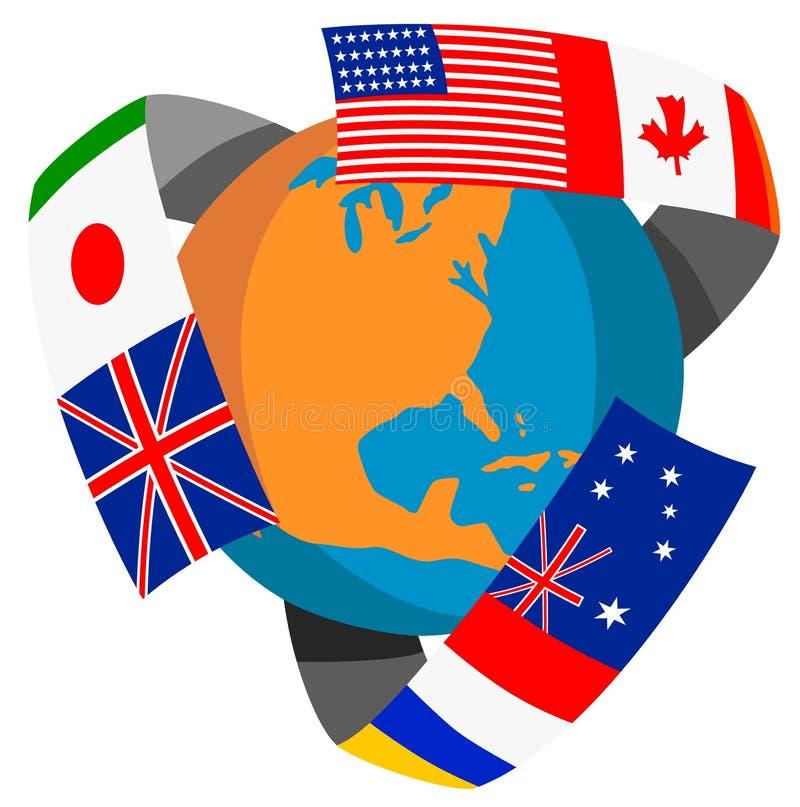 Globe avec des indicateurs du monde illustration de vecteur
