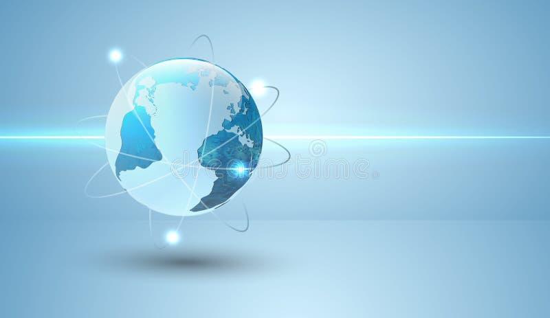Globe avec des orbites et rougeoyer illustration de vecteur