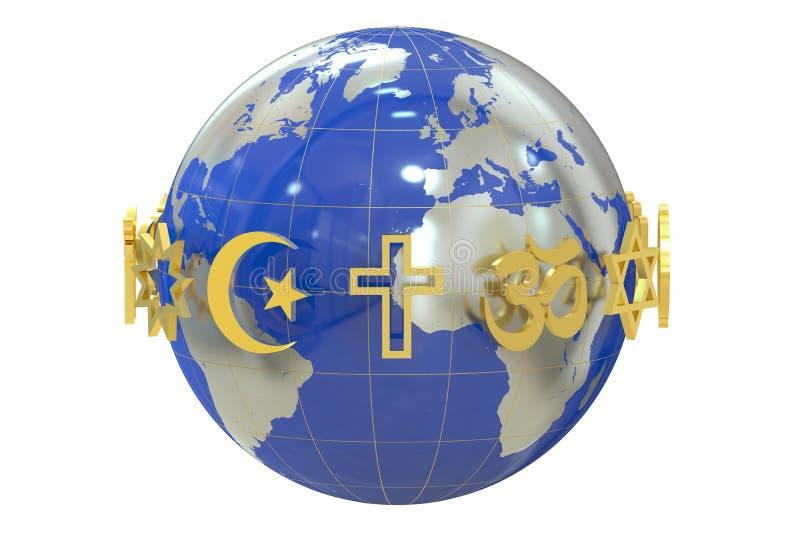 Globe avec des symboles de religions illustration libre de droits