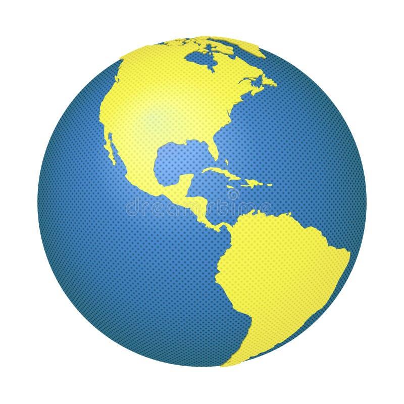 Globe avec du nord et le sud Amériques illustration libre de droits