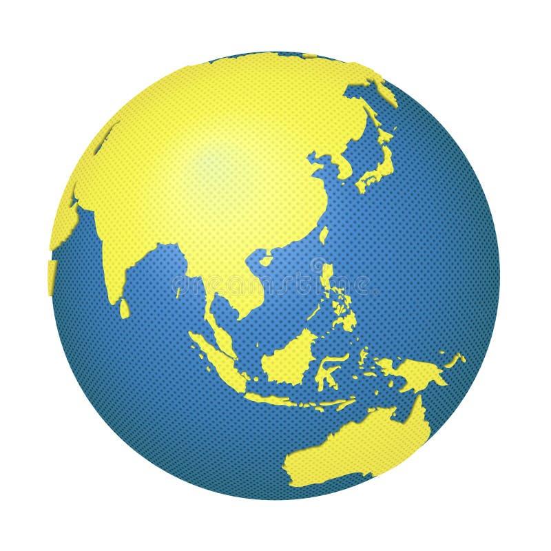 Globe avec l'Asie et l'Australie illustration stock