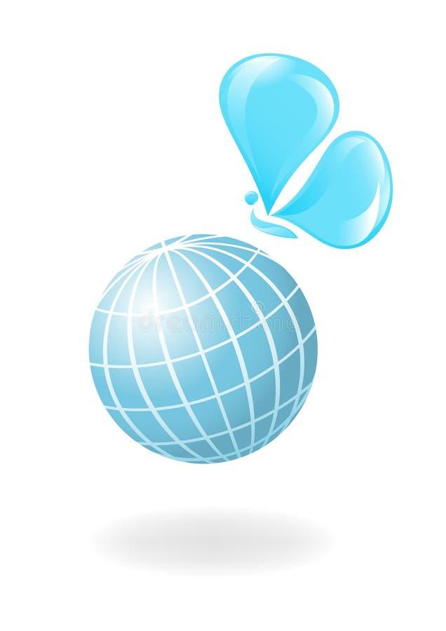 Globe avec l'eau-guindineau illustration stock