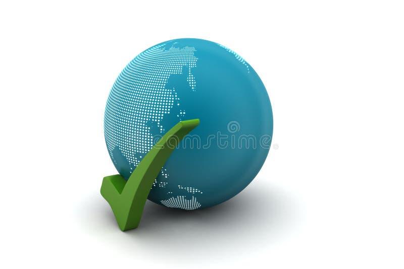 Globe avec la marque de coutil illustration de vecteur