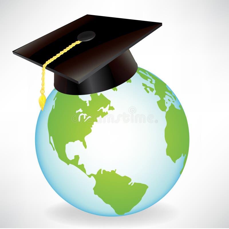 Globe avec le capuchon de graduation illustration stock