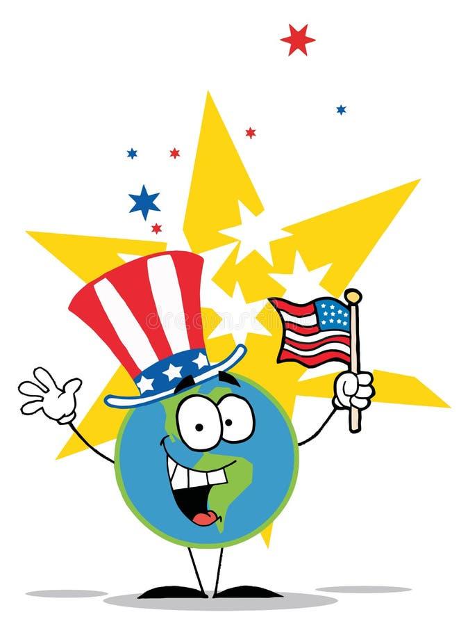 Globe avec le chapeau et l'indicateur patriotiques américains illustration stock