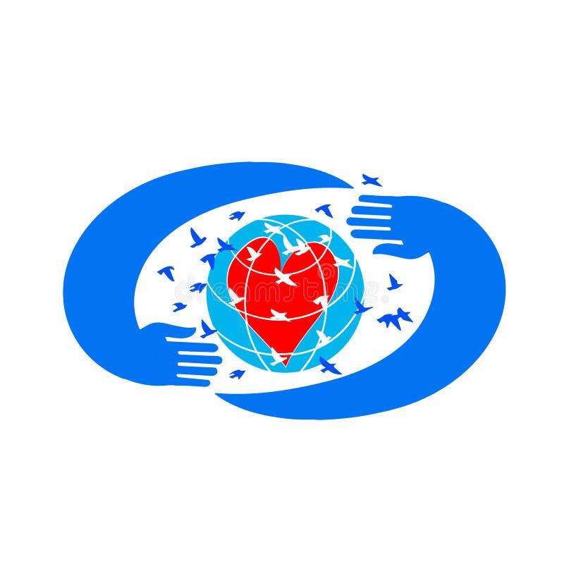 Globe avec le coeur dans des mains sûres illustration libre de droits