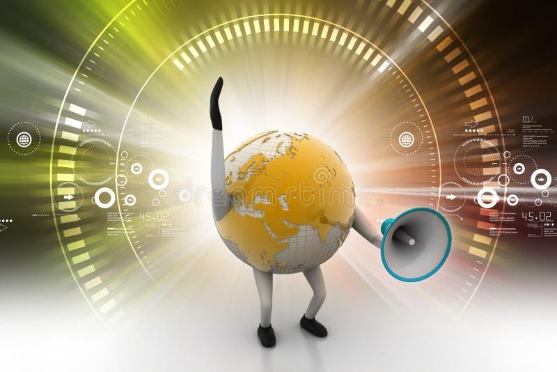 Globe avec le haut-parleur bruyant illustration stock