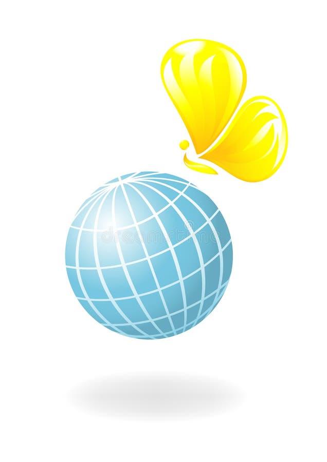 Globe avec le soleil-guindineau illustration de vecteur