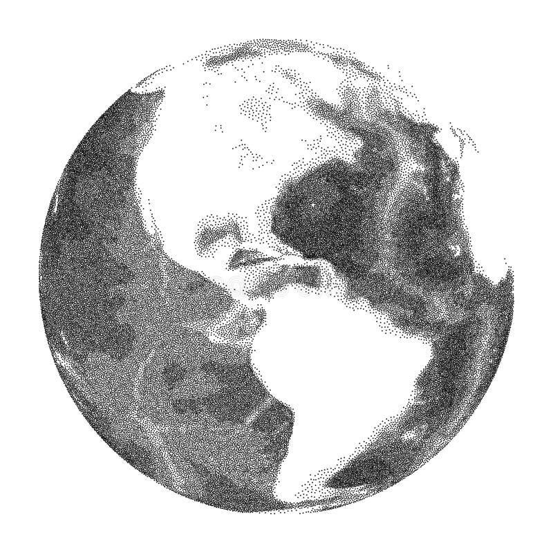 Globe avec le soulagement d'océan du monde Vues de l'Amérique illustration libre de droits