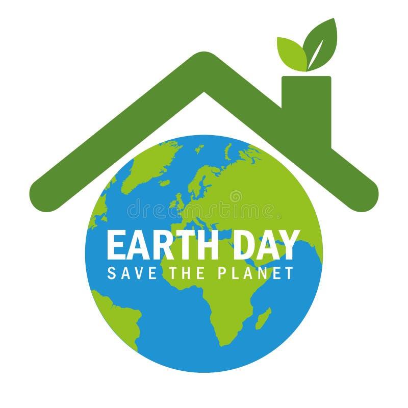 Globe avec le toit pour le symbole d'environnementalisme de jour de terre avec les feuilles vertes illustration libre de droits