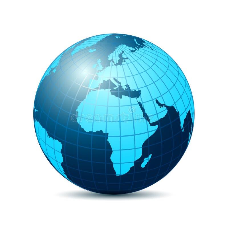 Globe avec les continents bleus - vecteur illustration libre de droits