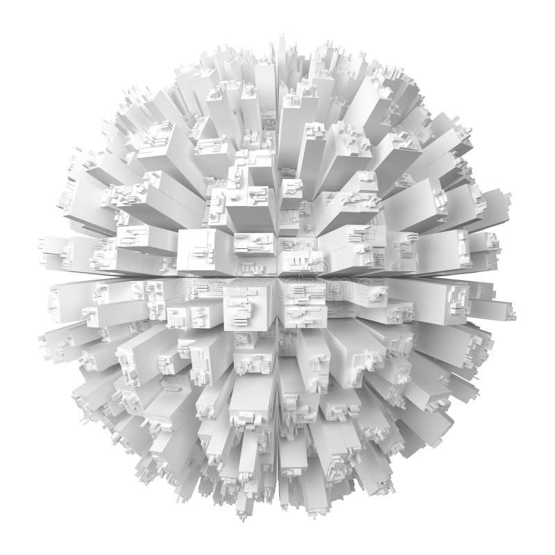 Globe avec les gratte-ciel abstraits illustration libre de droits