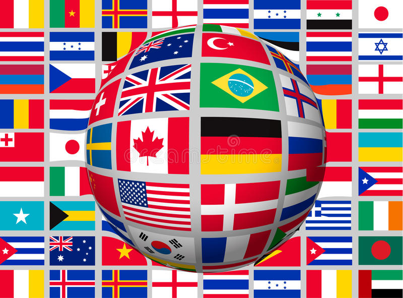 Globe on a background with flags of the world royalty free illustration