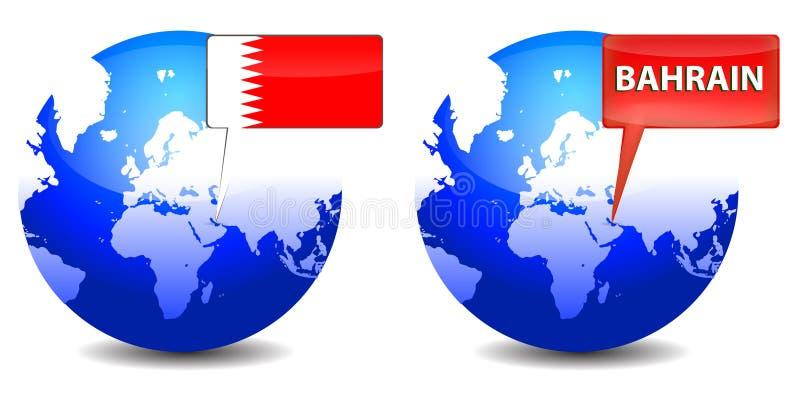 Globe with Bahrain sign stock illustration