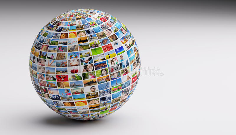 Globe, ball with various pictures of people, nature, objects, places. Concepts of social media, globalization etc stock images