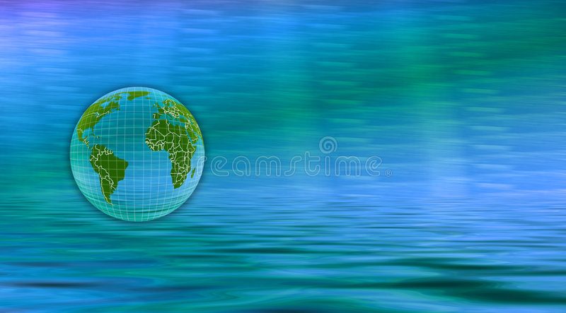 Globe Banner. Computer generated image. Globe over water with white lines charting areas. Can be used for Web banner or background use stock illustration