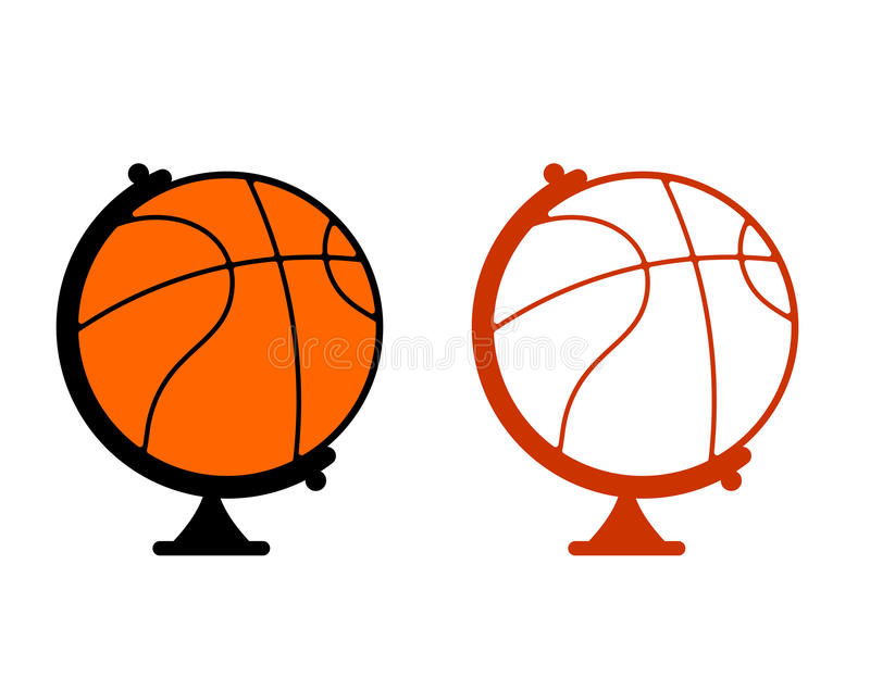 Globe basketball. World game. Sports accessory as globe. Orange stock illustration