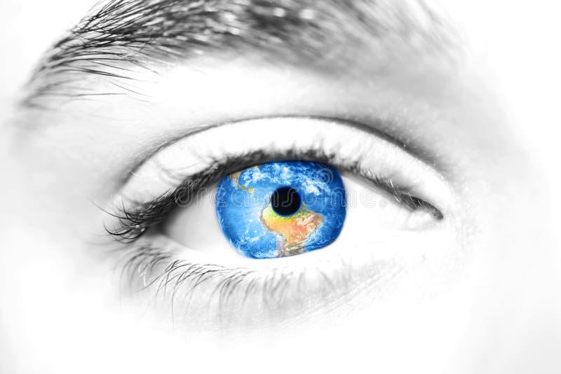Globe in beautiful eye. royalty free stock images