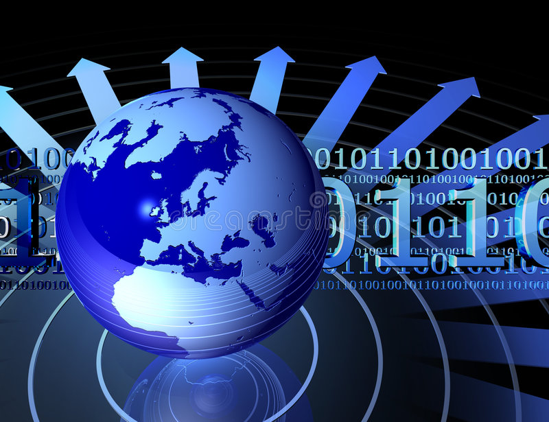 Globe and binary codes. Blue globe with arrows and binary code 0101, check my other renders and make sure your content filter is OFF royalty free illustration