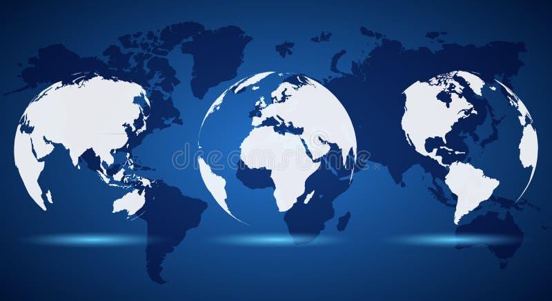 Globe blanc réglé sur la carte du monde - vecteur illustration stock