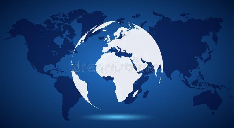 Globe blanc sur la carte du monde - vecteur illustration de vecteur