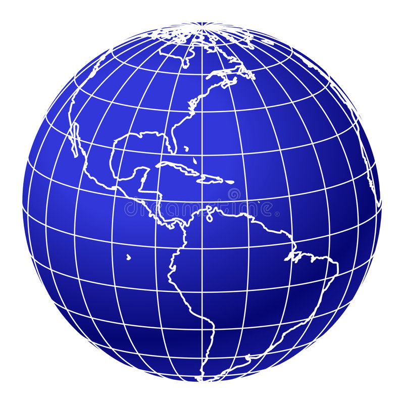 Globe bleu 1 du monde illustration libre de droits