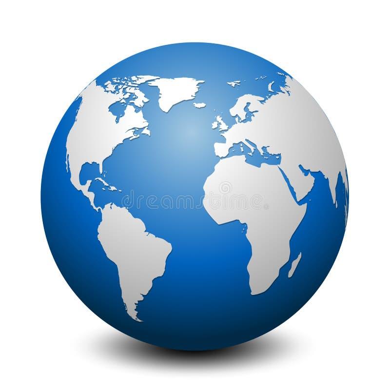 Globe bleu avec des continents - vecteur illustration stock