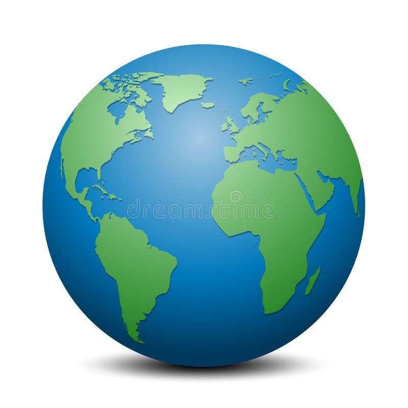 Globe bleu avec les continents verts - vecteur illustration stock